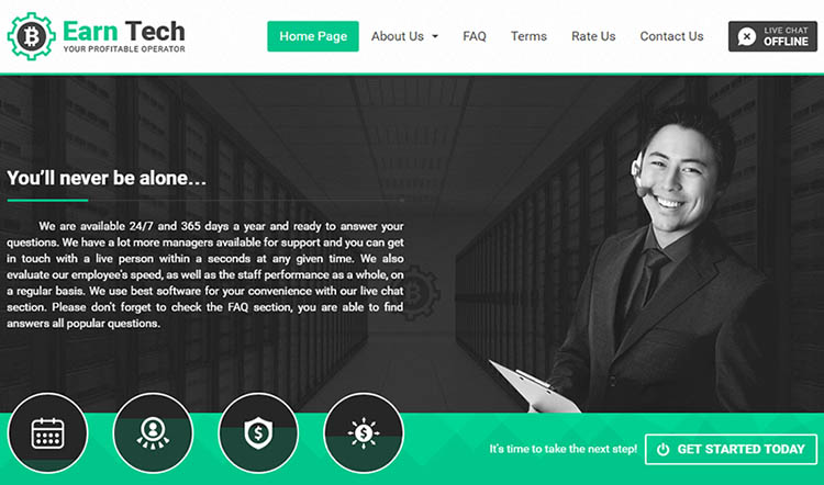 Earn Tech - главная страница