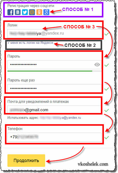 Форма регистрации кошелька Яндекс.Деньги