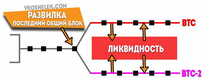 Схема развилки криптовалюты Биткойн - создание альткойна