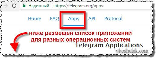Меню официального сайта Телеграм
