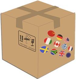 Шуточное изображение коробки заграничной продукции