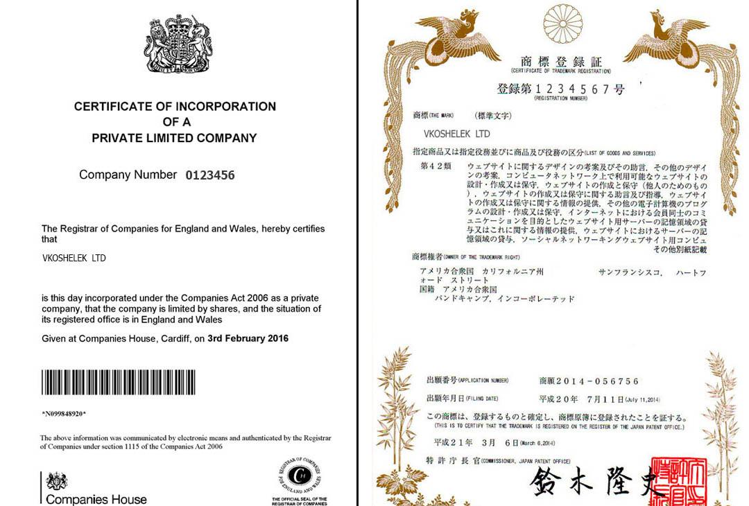 Регистрационные документы хайпов
