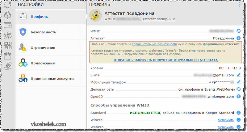 Внутри Webmoney Keeper Standard (Mini)