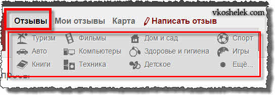 Список категорий Otzovik.com для написания отзывов