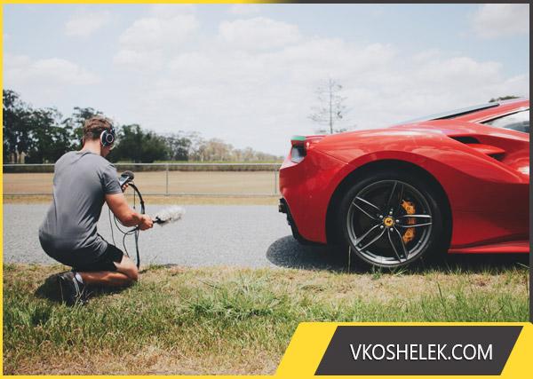 Запись звука спортивного автомобиля для будущего видеокурса
