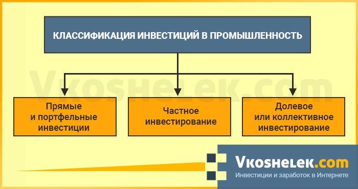 Схема видов инвестирования в промышленную и производственную нишу