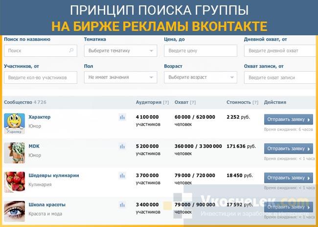 Пример поиска групп на Бирже рекламы ВКонтакте